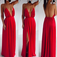Wholesale 2016 Fashion Women Dresses Sexy Clothing Wedding Bandage Red Strap V neck Halter Dress Pleated Backless Floor Length Maxi Party dress E17
