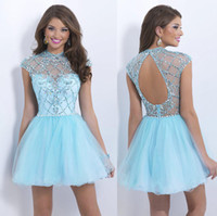 Wholesale 2014 New Charming Homecoming Dresses With Crew Beads Crystal Backless Cap Sleeve A Line Short Light Sky Blue Prom Party Cocktail Gowns