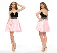 pink and black prom dresses - 2014 Fall Short Black and Pink Homecoming Graduation Prom Dresses Beaded Waist Backless Formal Cocktail Gowns Hot Sale Bachelorette Gowns