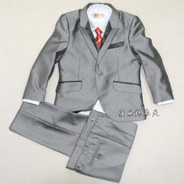 Wholesale Black silver Boy s suit Kids Complete Designer suit tuxedo Boys Formal Occasion wear one color pieces in stock suit pants jacket bow tie