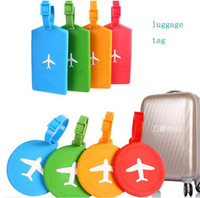 Wholesale New Fashion Silica Gel Luggage Tag Airplane Pattern Rectangle Round Shape Label Bags Tags Candy Colors
