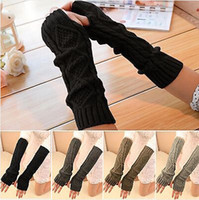 Wholesale Fashion Womens Mens Winter Knit Gloves Knitted Woolen Fingerless Warm Long Gloves CA02001