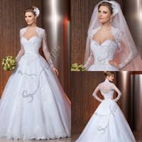 beautiful designer wedding gowns - Vestido de noiva Custom Made Gorgeous Designer Beautiful Jacket Lace Wedding Dresses Bridal Gowns Via37