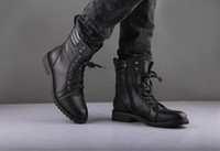 Wholesale Fashion Men s Winter Mid Calf Boots Black Punk Leather Side Zipper Lace Up Shoes Martin Cowboy Combat Army Boots US Size