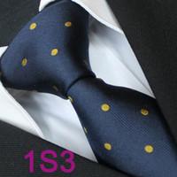 Cheap BRAND NEW COACHELLA Necktie Men ties 100% Pure Silk Tie Navy Blue With Gold Spots Polka Dots Woven Necktie Formal Neck Tie for dress shirts