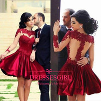 Cheap 2014 Red Burgundy Sheer Lace Long Sleeves Cocktail Dresses Lace Applique Illusion short Applique Prom Dresses 2015 Evening Gowns 2669