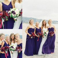 Wholesale 2014 Alternative Purple Chiffon Beach Bridesmaid Dresses Summer Fall Custom Made Real Wedding Inspired Plus Size Wedding Evening Party Gown