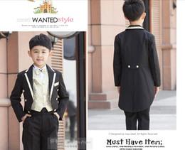 Wholesale Black golden Boy s suit Kids Tuxedo tailcoat suit tuxedo Boys Formal Occasion wear one color pieces in stock suit pants jacket bow tie