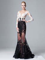 Cheap Real Image 2014 Prom Dress Scoop Black and White Long Sleeve Lace Appliques See Through Floor-Length Sheer Sexy Evening Gowns
