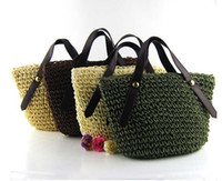 Totes straw beach bag - 2015 Straw Bag Totes Beach Bag Straw Woven Bag Lovely Coutryside Style WomenTotes Colors Mixed