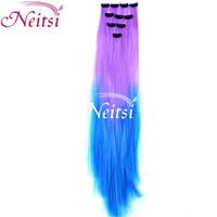 Wholesale New Fashion Synthetic clip in on hair straight weave Ponytail extensions T4 ombre color colorful high quality clip hairpiece for sale
