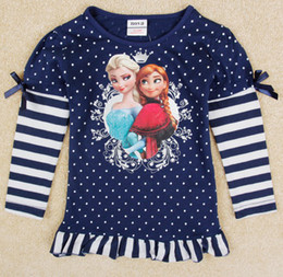 Wholesale Autumn Long Sleeve Frozen Children s T shirts Pure Cotton Cartoon Elsa Anna Girl T Shirt Dot Stripe Baby Kids Tshirt Topwear GX900