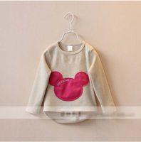 Cheap Minnie Mice Autumn Girls Cotton Long Sleeve Base Shirts Shirt 5pcs lot Girl Children Child Clothes Beige Pink Yellow Gray Green K0737