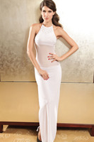 diva - 2015 Precious Diva Chiffon Evening Dress With Rhinestone White New Fashion Sexy Long Maxi Dress B4695