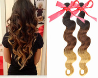 Cheap 6a hot queen hair products ombre color #1b#4#27 18''-28''100% brazilian virgin ombre hair weft body wave 100g pc 6A quality 3pc lot