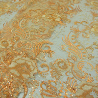 Polyester lace fabric wholesale - Net cloth embroidered fabrics sequins embroidery fabric Computer sequins embroidery fabric fashion new sequins lace fabrics