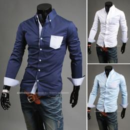 Wholesale 2867 HOT New Mens shirts Men s Casual Slim Lattice Shirt Long Sleeve Shirts Casual Shirts