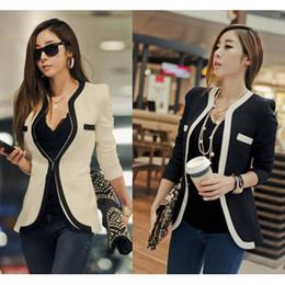 Wholesale 2016 New Suit Coats Fashion Women Suit Coat Jacket Vestidos Casual OL Work Suit Casual Korean Ladies White Black Suit Blazers S XL W6