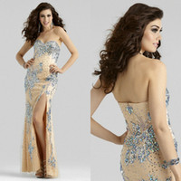 2015 Sweetheart Sheath Crystal Beaded Prom Dresses High Side...