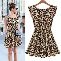 Wholesale Sexy Collared Vest - New Chic Sexy Sundress Women Leopard Pleated Ruffle Vest M Collar Leopard-print Dress for Women Promotional Discounts Drop Shpping Wholesale
