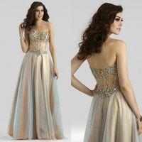 2015 Sweetheart A- Line Crystal Beaded Prom Dresses Floor- Len...