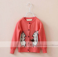 Wholesale 5pcs Squirrel Autumn Children Kids Girls Clothes Cotton Knitting Cardigan with Pine Cone Sweaters Coat Outwear Pink Coffee K0738