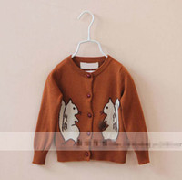 pine cones - 5pcs Squirrel Autumn Children Kids Girls Clothes Cotton Knitting Cardigan with Pine Cone Sweaters Coat Outwear Pink Coffee K0738
