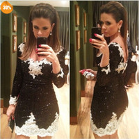 Wholesale Twinkling V neck Sheath Black and White Lace Short Homecoming Dresses New Arrival Prom Dresses with Sleeve Twinkling Mini Party Dress
