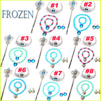 Wholesale Frozen Sets Imperial Crown Magic Wand Necklace Bracelet Earrings Elsa Anna Cartoon Sets Kids Children Holiday Gift YW GD2
