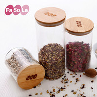Wholesale FaSoLa glass sealed bottle jar food storage container with bamboo lid organizer for tea milk candy