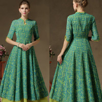 big l shot - Green color cheongsam faux two piece set vintage Duplex multi shot dresses big swing floor length printing one piece dress