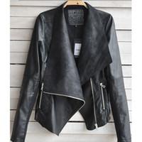 Cheap 2014 Autumn Winter Fashion Women Coat Jackets Punk Street Style Casual PU Leather Work Jackets Black Ladies Girls Coats Clothing Outwear W7