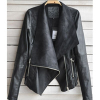 Wholesale Autumn Winter Fashion Women Coat Jackets Punk Street Style Casual PU Leather Work Jackets Black Ladies Girls Coats Clothing Outwear W7