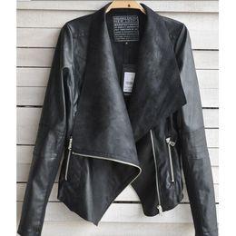 Wholesale Autumn Winter Fashion Women Coat Jackets Punk Street Style Casual PU Leather Work Jackets Black Ladies Girls Coats Clothing Outwear W7