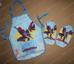 Wholesale Retail Boy s Spiderman cartoons Sanitary Waterproof apron Ben10 Cooking Art Painting Smock Children Set Sleeveless Aprons Oversleeves