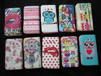 Wholesale Leather Wallet Flower Credit Card Tribal Cute OWL TPU Pouch Sexy Lip Purse Stand book For Samsung Galaxy Core G355 G3556D Skin case