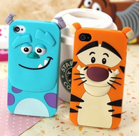 tigger - 50 new D Cartoon Cat Dog Tiger Animal Monsters Sulley Tigger Marie Alice Cat slinky dog Silicone Case Cover For iPhone S S