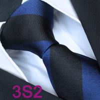 Cheap BRAND NEW COACHELLA Men ties 100% Pure Silk Tie Dark Blue With Black Stripes Woven Necktie Formal Neck Tie for Men dress shirts Wedding