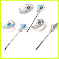 Wholesale Hot Sale Frozen Sets Imperial Crown Magic Wand Elsa Anna Cartoon Sets Kids Children Holiday Gift YW GD3