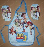 PVC art stories - Retail Boy s Toy Story cartoons Sanitary Waterproof apron Boy Cooking Art Painting Smock Children Set Sleeveless Aprons Oversleeves