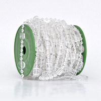 Cheap 30M lot 14mm rund 10mm square acrylic disk beaded Iridescent crystal garland strands for wedding decoration chandelier wa082