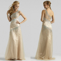 2015 One- Shoulder Sheath Evening Gowns Crystal Beaded Prom D...