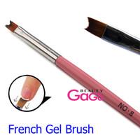 hair gel - BeautyGaGa Professional New Pink Half moon French UV Gel Manicure Brush Tool Nylon Hair Brush Pen for Nail Art Salon