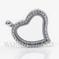 Cheap Wholesale 5Pcs lot new 30MM heart magnetic floating locket, openable glass locket living locket origami owl lockets WFL002