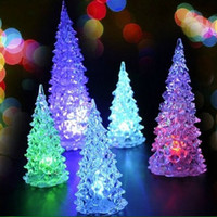 Wholesale LED Christmas crystal tree night lamp Colors New Items Cool Christmas Halloween Tree Ornament Acrylic Colorful factory price