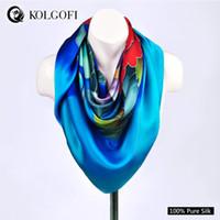 Cheap KOLGOFI 2014 Silk Scarf Printed,Fashion dark Blue Big Square Shawl,Hot Sale Large Women Satin Scarves 110*110cm