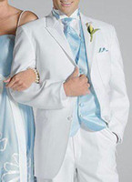 Cheap men suits 2014 New Arrival Custom Made White Groom Tuxedos Hot Sale Wedding Suits For Man Groom Suits
