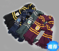 Wholesale Harry Potter Gryffindor Slytherin ravenclaw Hufflepuff Thicken Wool Knit Scarf Hat Cap Set Soft Harry college pinstripe thickening version