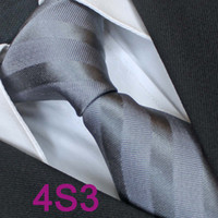 Cheap BRAND NEW COACHELLA Men tie 100% Pure Silk Tie Gray Solid Two Tone Stripes Woven Necktie Casual Formal Neck Tie for Men dress shirts Wedding
