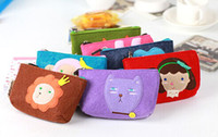 Wholesale 2015Lovely Girls Cartoon Animals Fleece Coins Purse Kids Gifts Adorable Mini Bags Velvet Animal Card Phone Coin Convenience Bag Wallet D1238